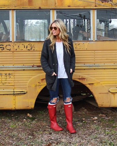 coatigan outfit, hunter boots, red hunter boots outfit | Casual .