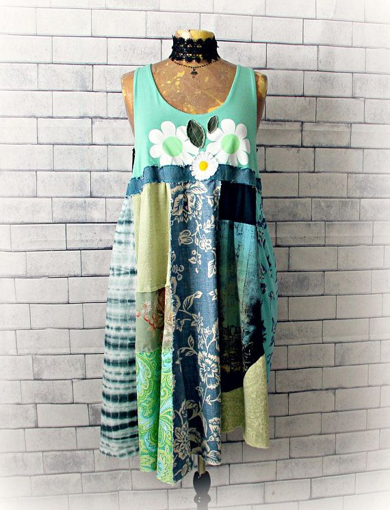 Bohemian Sundress Green Patchwork Dress Recycled Upcycled .