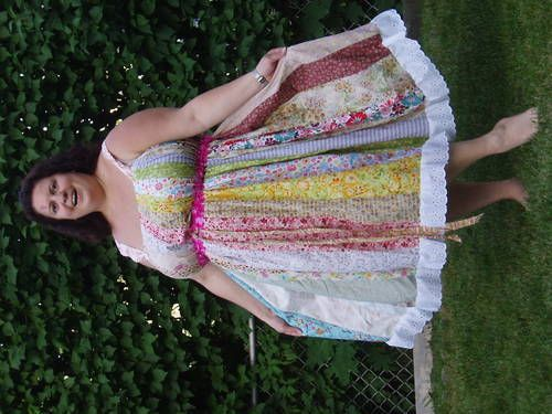 TUTORIAL for vertical patchwork hippie dress -- any size - no .