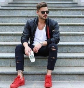 Red Shoes with Bomber Jacket Outfits For Men (63 ideas & outfits .