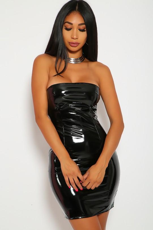 Black Sexy Leather Dress Body Con Mi