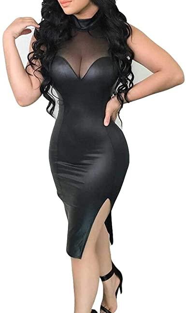 Amazon.com: E-Scenery Women Sexy Leather Dress Stitching Splits .