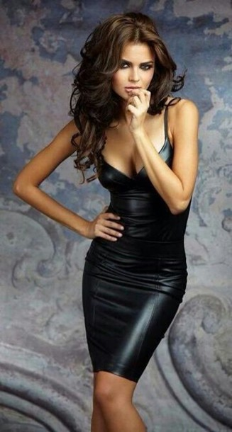 dress, leather, black, black dress, leather black dress, leather .