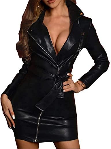 Amazon.com: Women Leather Dress Sexy V Neck Lapel Long Sleeve .