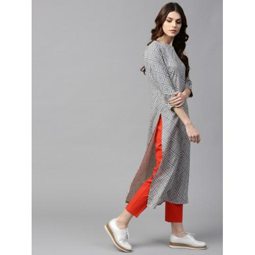 Buy GERUA Women Grey & Off-White Printed Straight Kurta online .