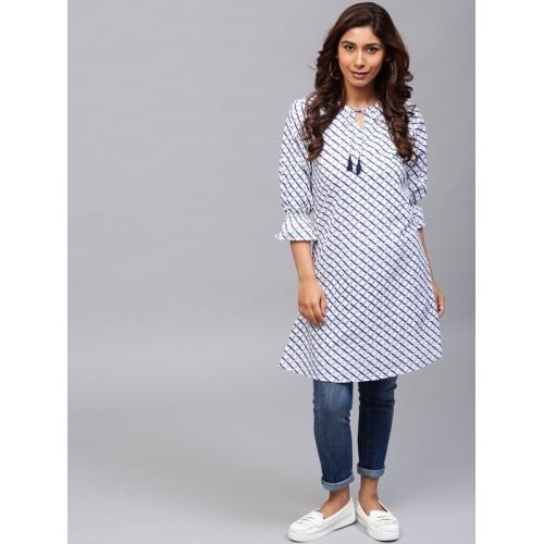 Buy AKS Women White & Blue Checked A-Line Kurta online | Looksgud.