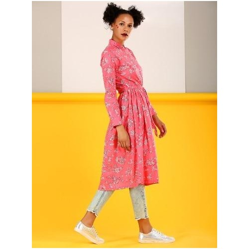 Buy Pink Cotton Printed Kurta With Light Blue Jeans And Casual .