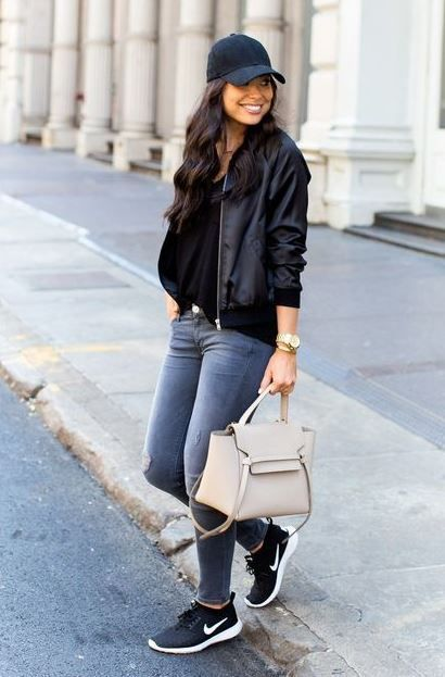 WHAT TO WEAR WITH SKINNY JEANS | Athleisure outfits, Black .