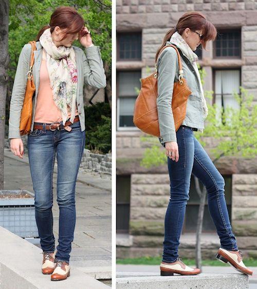 oxford shoes w/ skinny jeans & jacket | My Style | Pinterest .