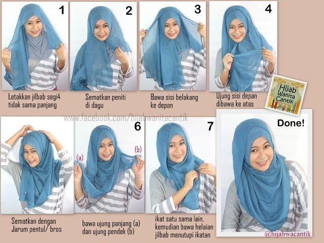 Hijab Tutorial Segiempat Paris Simple Style ^_^ | Hijab tutorial .
