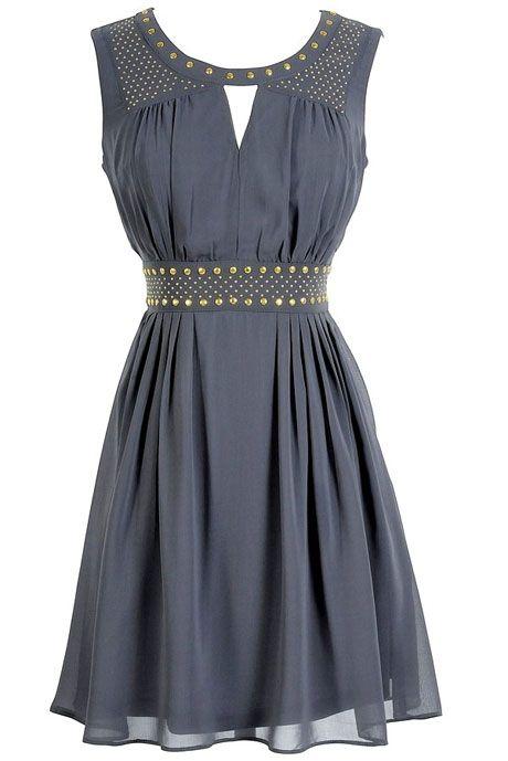 Gold Studded Chiffon Dress in Grey $40   Cute dresses, Fashion .