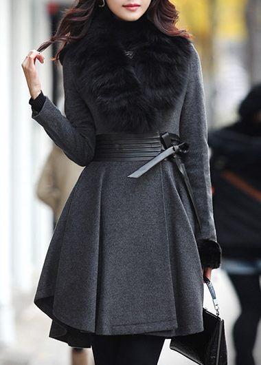 Hidden Clasp Faux Fur Collar Dark Grey Coat on sale only US$57.28 .