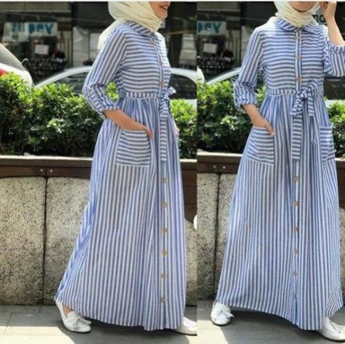 maxi striped dress-Hijab outfits in summer spirits – Just Trendy .