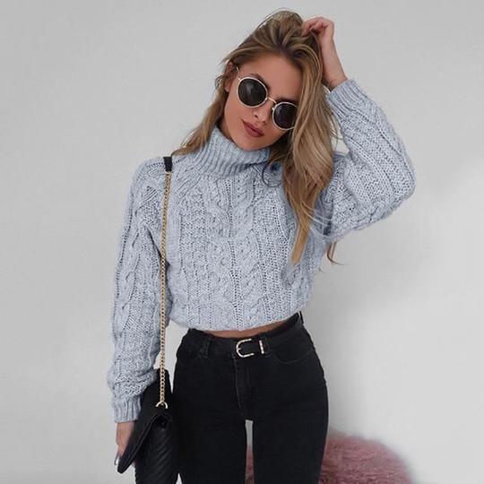 Simenual Twist turtlenecks sweaters for women fashion slim cropped .