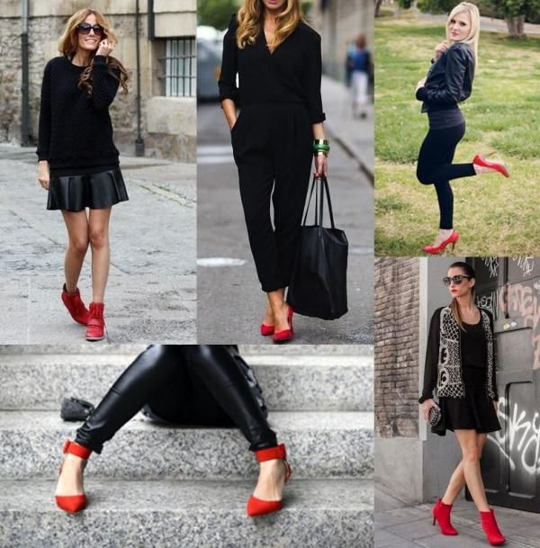 How to wear red shoes | Red shoes outfit, Red heels outfit, Red .